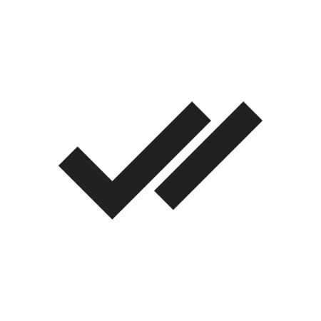 Checkmark double right symbol tick sign. Vector flat illustration isolated icon