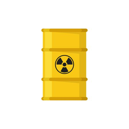 Barrel waste drum. Flat yellow illustration. Isolated vector illustration.