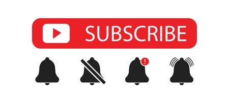 Subscribe bell. Social concept. Vector isolated button set icon. Vector Illustration