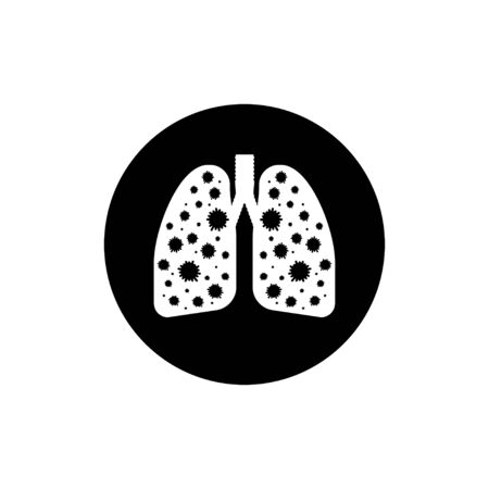 Infected lungs coronavirus. Icon for medical design. Vector isolated icon. Vektorové ilustrace