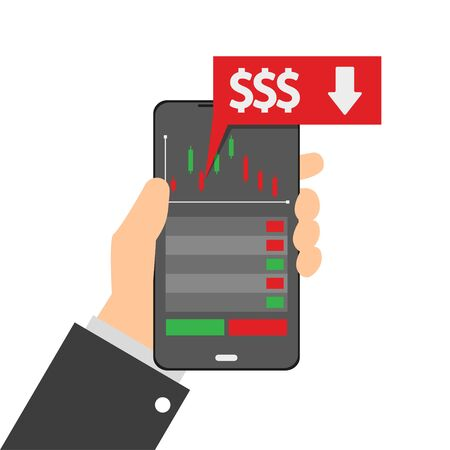 Financial growth. Mobile phone. Growth graph trade. Flat vector illustration