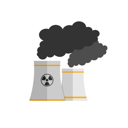 nuclear power plant isolated vector illustration. Flat vector icon.