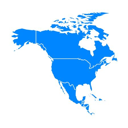 North America Blue on white background. Vector art. American background. Flat vector icon.