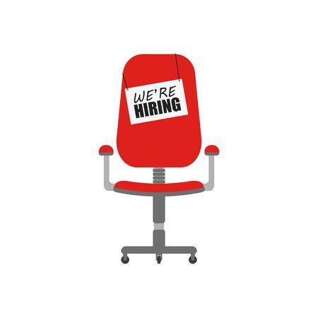 Hiring chair. Empty office flat vector illustration. Business concept. Recruitment interview