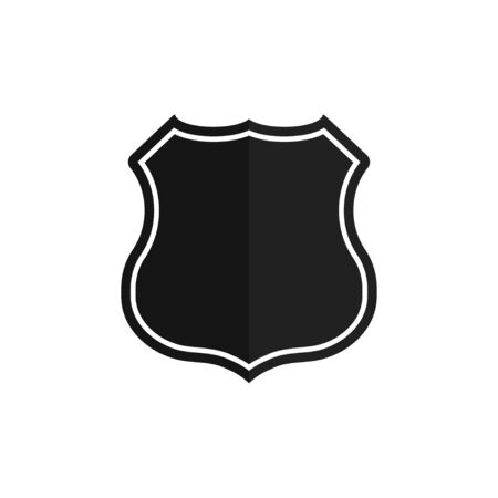 Shield button on white background. Security vector icon. Vector symbol, badge, logo. Illustration