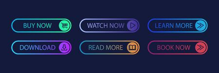 Gradient buttons for app design. Web icon set. Download icon. Ilustrace