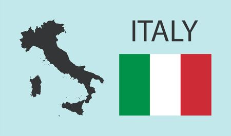 Italy map and flag. Flat vector icon isolated illustration geography concept
