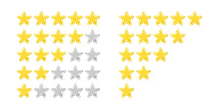 Star set 5 gold icon review. Vector isolated illustration in flat