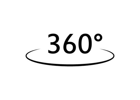 360 degrees isolated black icon in flat. Vector illustration for web Vettoriali