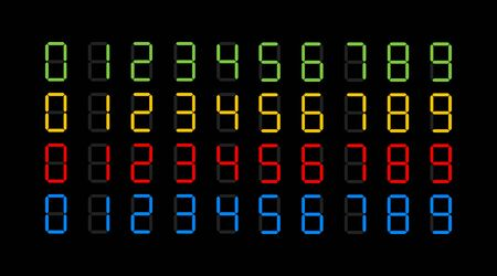 Digits electronic dial set. Vector illustration isolated black background.
