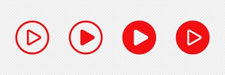 Red play buttons on transparent background. Web icon set. Vector illustration Illustration