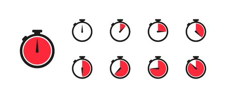 Watch, time icon, clock set isolated icon in flat style, vector illustration Vettoriali