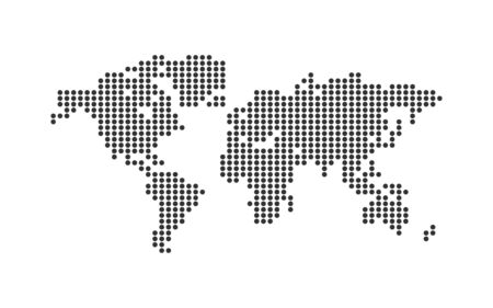 World map points simple flat vector. Abstract black background.