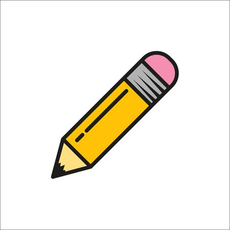 Pencil on white background. Icon in flat style, vector illustration Ilustracja
