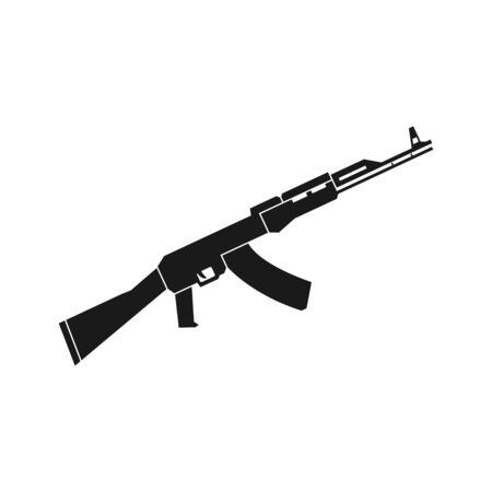 Automatic weapon black icon, isolated vector illustration in flat style