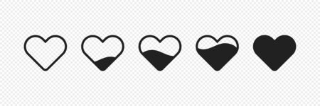 Heart set isolated icon. Vector isolated illustration. Modern design template.
