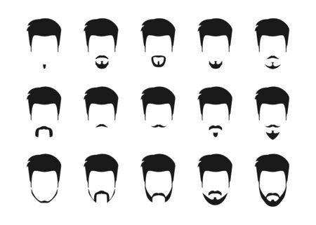 Black beard set in vintage style. Isolated vector illustration. Illustration