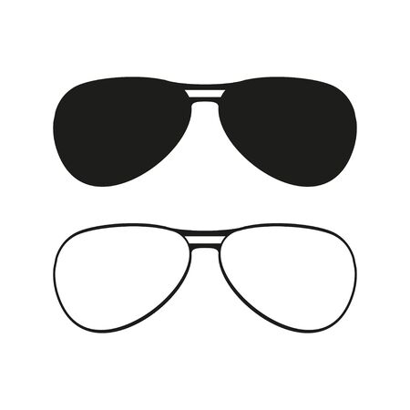 Sunglasses set isolated icon on flat style. Isolated vector illustration.