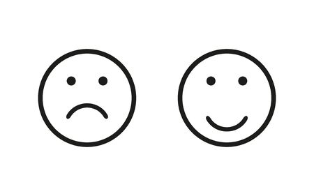 Sad and happy symbol, isolated flat icon. Vector illustration for wab design