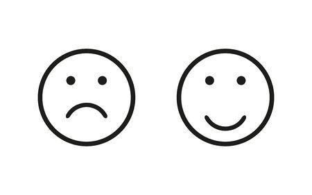 Sad and happy symbol, isolated flat icon. Vector illustration for wab design