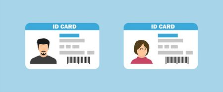 Id card in flat style. Isolated icon. Vector illustration  Illustration