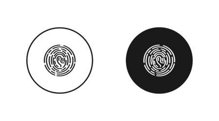 Fingerprint, touch screen flat isolated icon. Simple vector illustration.  Illustration