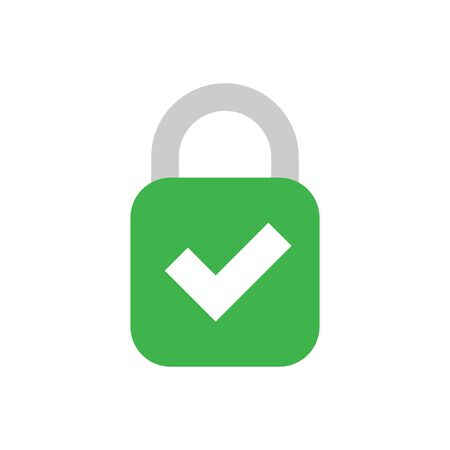 Lock with check mark color flat icon. Isolater simple vector illustration