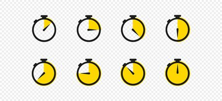 Stopwatch timer set icon vector flat design. Isolated sign symbol. Vettoriali
