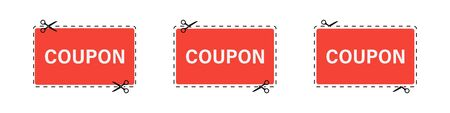 Coupon paper cut set on white backdrop in flat style. Vector illustration