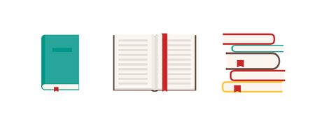 Book set icon in flat style. Digital vector illustration. Web design. 向量圖像