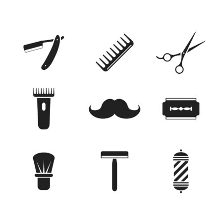 Barber set icon, hipster male isolated vector in flat style