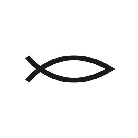Christianity symbol fish isolated vector outline icon in flad icon