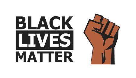 Black lives matter poster. No racism concept in flat. Vector illustration Stock Illustratie