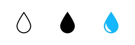 Drop in flat style on white background. Isolated vector set icon