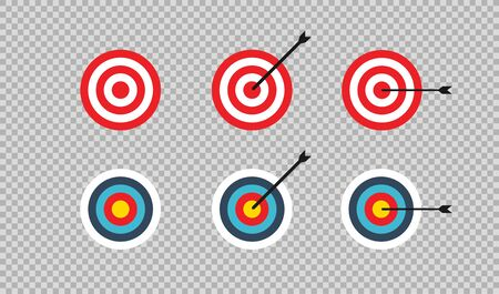 Target  and arrow icon in flat, vector illustration.  Business team success