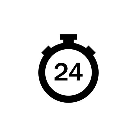Timer 24 in flat style on white background. Vector illustration isollated