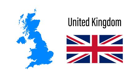 United Kingdom map icon and flag in flat style. Simple vector illustration