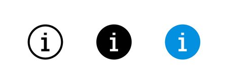 Info icon isolated in flat style. Set vector button for web design