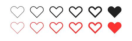 Heart collection flat isolated icon on white background, vector illustration Vettoriali