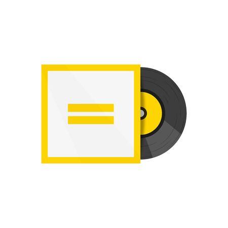 Vinyl record flat retro illustration. Hipster mockup. Vector design Illustration