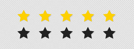 Five stars rating icon set vector icon. Flat isolated button for concept web design on transparent background. Modern illustration