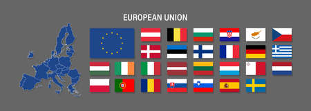 European Union map and flag vector icon. Political and economic signs and symbols. Countries for infographics and media
