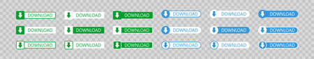 Download button on transparent background in flat. Green and blue vector buttons. Arrow icon for web design 向量圖像