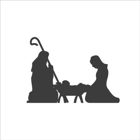 Christmas scene, Christianity birth of baby Jesus. Mary and Joseph, manger holiday silhouette. Vector illustration icon 矢量图像
