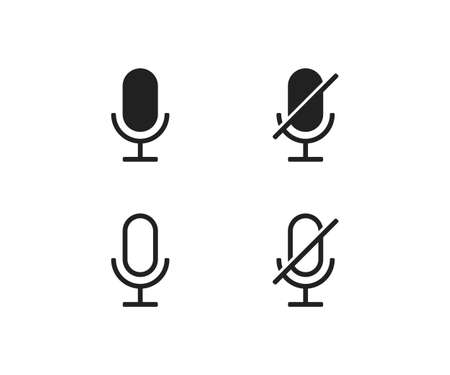 Microphone ON and OFF vector icon. Modern button for concept design. Isolated illustration for app Vektorgrafik