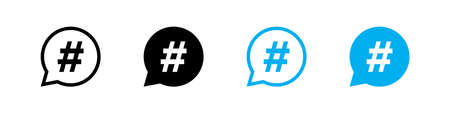 Hashtag set vector icon in bubble, flat style. Social media tag button illustration.