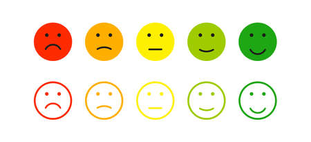 Emoticon face icon set. Mood feedback smile in flat style. Expression emotion, vector illustration.