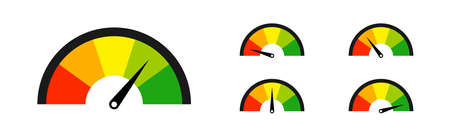 Color speedometer set vector isolated icons. Speed motion design.