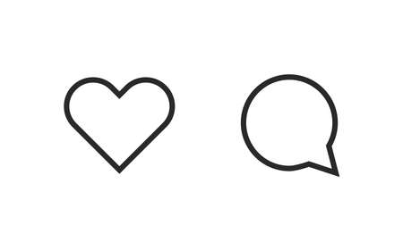 Heart and comment icon. Social media network concept. Vector web modern button. 矢量图像