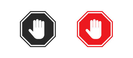 Stop hand red sign. Isolated ban icon in flat style. Vector symbol Иллюстрация